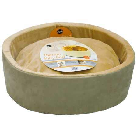 K&H Pet Products Thermo-Kitty Heated Cat Bed Small 16 Inches Sage/Tan