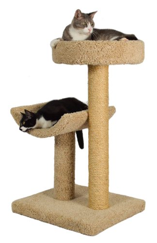 Molly and Friends 'Simple Sleeper' Premium Handmade 2-Tier Cat Tree with Sisal, Model 23, Beige, Colors May Vary
