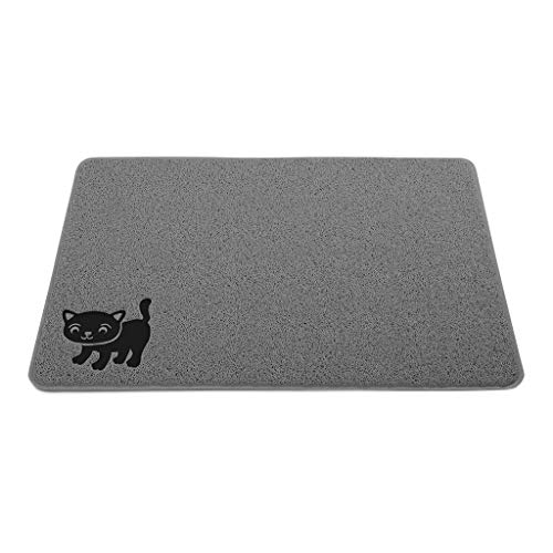"""Cat Litter Mat By Smiling Paws Pets, BPA Free, XL Size 35'x23.5"""", Non-Slip - Tear & Scratch Proof, Easy to Clean Kitty Litter Catcher with Scatter Control (Extra Large Gray)"""