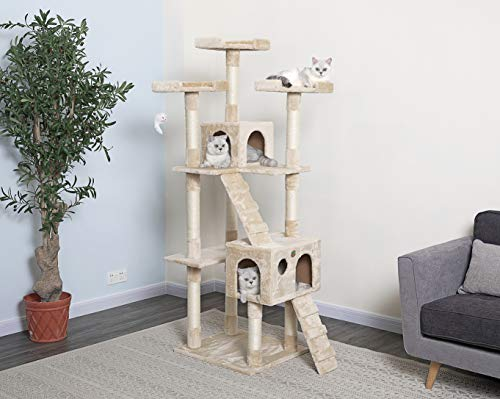 Go Pet Club 72' Tall Beige Cat Tree Furniture