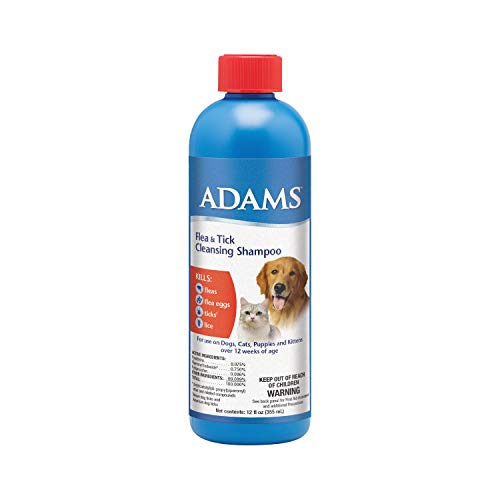 Adams Flea and Tick Cleansing Shampoo, 12-Ounce, Clear