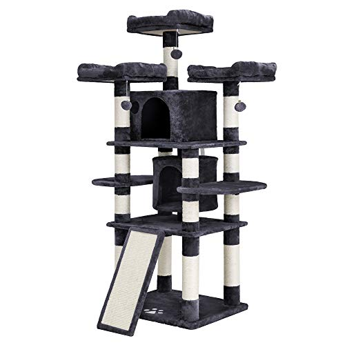 FEANDREA 67' Multi-Level Cat Tree for Large Cats, with Cozy Perches, Stable Cat Tower Cat Condo UPCT18G