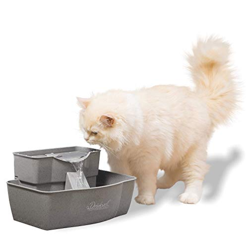 PetSafe Drinkwell Multi-Tier Cat and Dog Water Fountain - Automatic Drinking Fountain for Pets - 100 Oz. Water Capacity (PWW00-13708), Grey