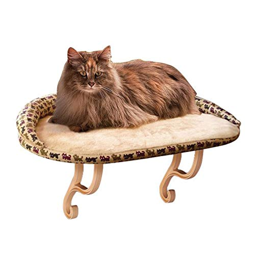 K&H Pet Products Deluxe Kitty Sill with Removable Bolster Tan/Kitty Print 14 X 24 Inches