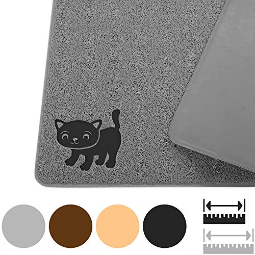 "Cat Litter Mat By Smiling Paws Pets, BPA Free, XL Size 35'x23.5"", Non-Slip - Tear & Scratch Proof, Easy to Clean Kitty Litter Catcher with Scatter Control (Extra Large Gray)"
